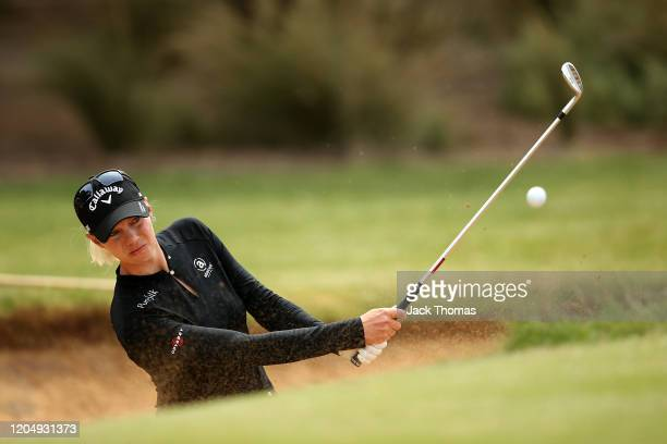 Madelene Sagstrom of Sweden practices ahead of her final round on Day Four of the ISPS Handa Vic Open at 13th Beach Golf Club on February 09 2020 in...