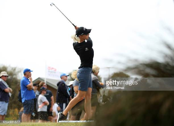 Madelene Sagstrom of Sweden practices on the driving range ahead of her final round on Day Four of the ISPS Handa Vic Open at 13th Beach Golf Club on...