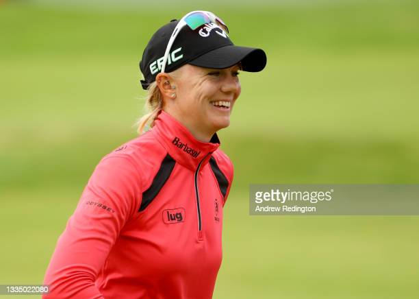 Madelene Sagstrom of Sweden reacts after her putt on the 18th green during the first round of the AIG Women's Open at Carnoustie Golf Links on August...
