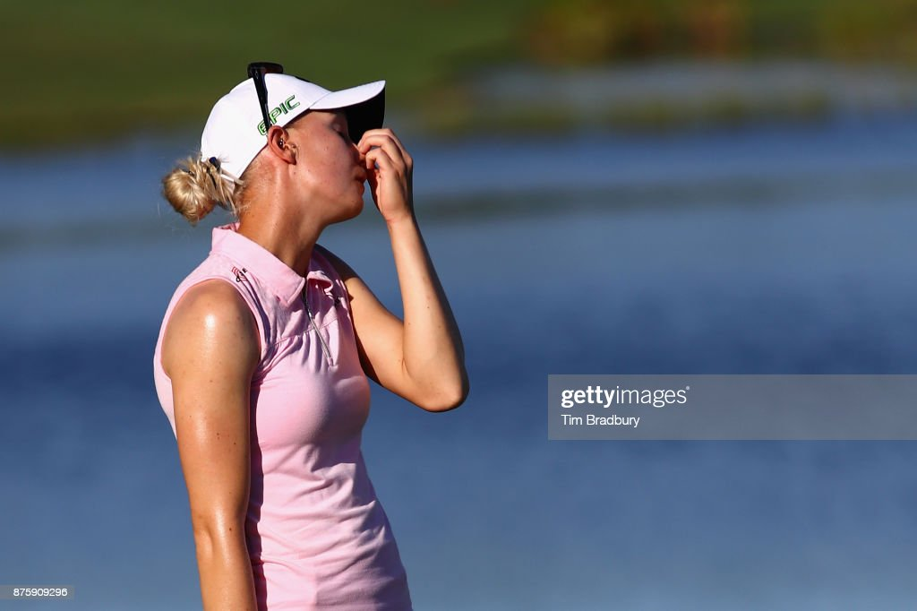 Madelene Sagstrom of Sweden reacts after missing a putt on the 18th green during round three of the CME Group Tour Championship at the Tiburon Golf Club on November 18, 2017 in Naples, Florida.
