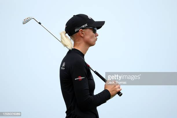 Madelene Sagstrom of Sweden reacts after playing her second shot on the 6th Beach Course hole during Day Four of the ISPS Handa Vic Open at 13th...