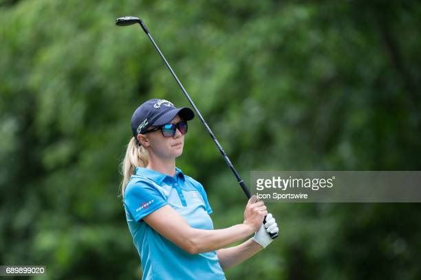 Madelene Sagstrom of Sweden watches her tee shot on the seventh hole during the second round of the LPGA Volvik Championship on May 26 2017 at Travis...