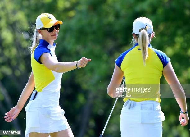 Madelene Sagstrom of Team Europe celebrates a birdie from Jodi Ewart Shadoff to half the seventh hole during the afternoon fourball matches of the...
