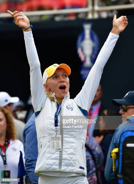 Madelene Sagstrom of Team Europe gets excited during the morning foursomes matches of The Solheim Cup at Des Moines Golf and Country Club on August...