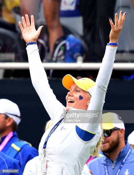 Madelene Sagstrom of Team Europe plays with the crowd on the first tee during the morning foursomes matches of the Solheim Cup at the Des Moines Golf...