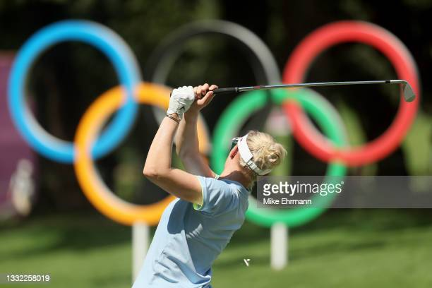 Madelene Sagstrom of Team Sweden plays her shot from the 16th tee during the first round of the Women's Individual Stroke Play on day twelve of the...