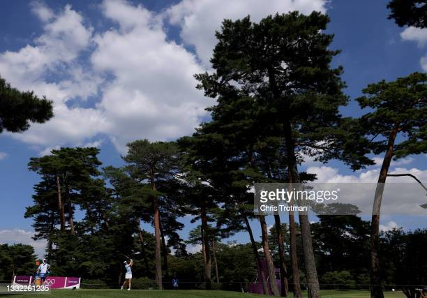 Madelene Sagstrom of Team Sweden plays her shot from the 18th tee during the first round of the Women's Individual Stroke Play on day twelve of the...