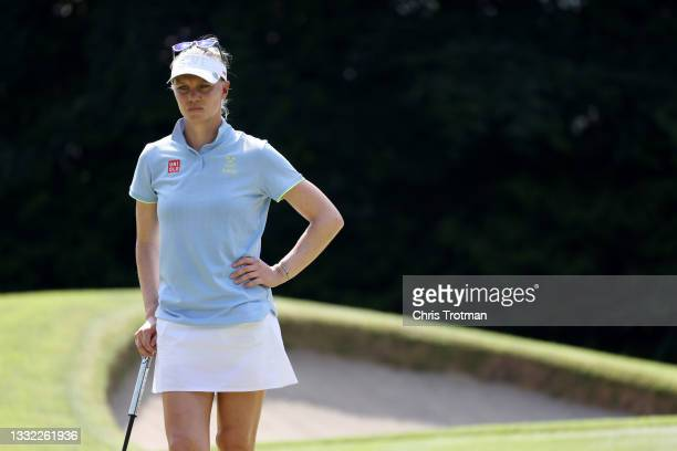 Madelene Sagstrom of Team Sweden waits on the 17th green during the first round of the Women's Individual Stroke Play on day twelve of the Tokyo 2020...