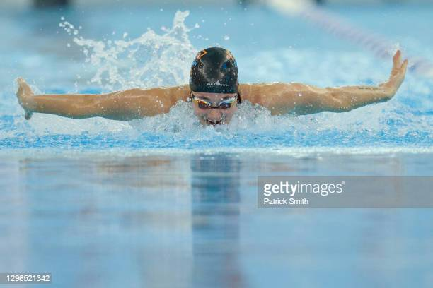 Madeline Banic competes in the Women's 100 Meter Butterfly during Day Two of the TYR Pro Swim Series at SwimRVA at the Collegiate School Aquatics...