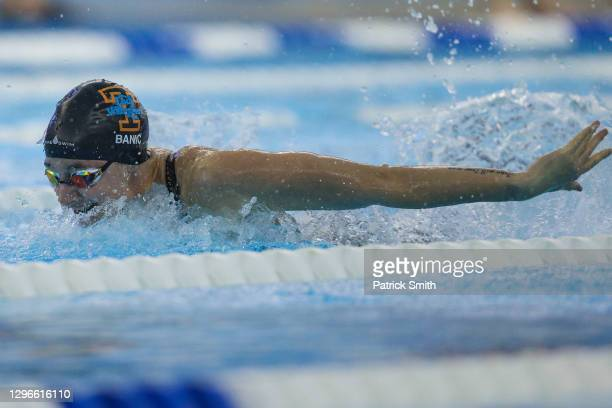 Madeline Banic competes in the Women's 100 Meter Butterfly Final during Day Two of the TYR Pro Swim Series at SwimRVA at the Collegiate School...