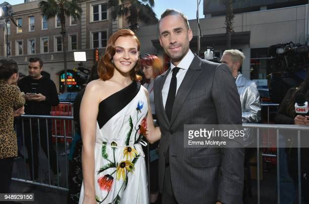 Madeline Brewer and Joseph Fiennes attend the premiere of Hulu's The Handmaid's Tale Season 2 at TCL Chinese Theatre on April 19 2018 in Hollywood...