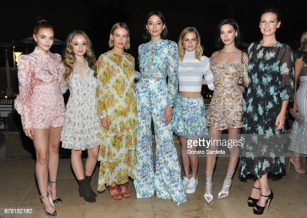 Madeline Brewer Carson Meyer Lara Worthington Jessica Gomes Samara Weaving Amanda Steele and Anna Torv at Zimmermann Los Angeles Dinner at Sunset...