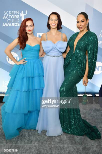 Madeline Brewer, Kristen Gutoskie and Amanda Brugel attend the 26th Annual Screen ActorsGuild Awards at The Shrine Auditorium on January 19, 2020 in...