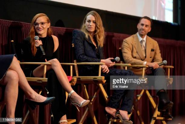 Madeline Brewer Yvonne Strahovski and Joseph Fiennes attend Hulu's The Handmaid's Tale season 3 finale at Regency Village Theatre on August 06 2019...