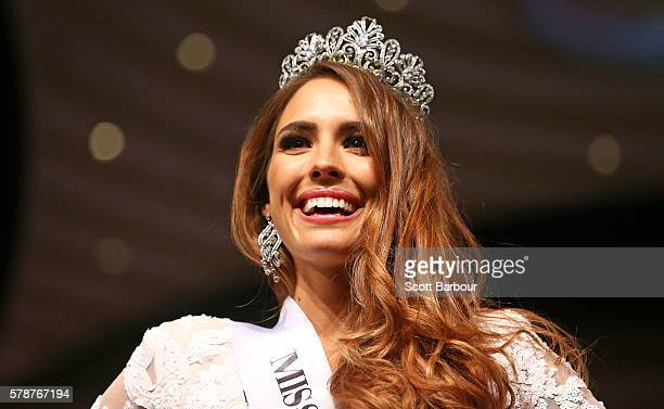 Madeline Cowe from Queensland is crowned Miss World Australia 2016 during the Miss World Australia 2016 National Final at Crown Palladium on July 22...