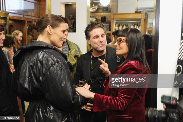 Madeline Dinda Gerard Maione and Norma Kamali attend Vintage For The Future A Norma Kamali Retrospective by What Goes Around Comes Around on February...