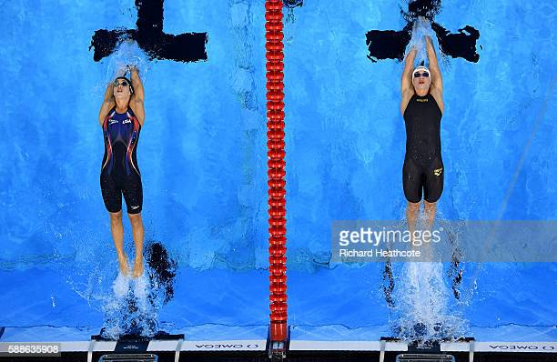 Madeline Dirado of the United States and Katinka Hosszu of Hungary compete in the second Semifinal of the Women's 200m Backstroke on Day 6 of the Rio...