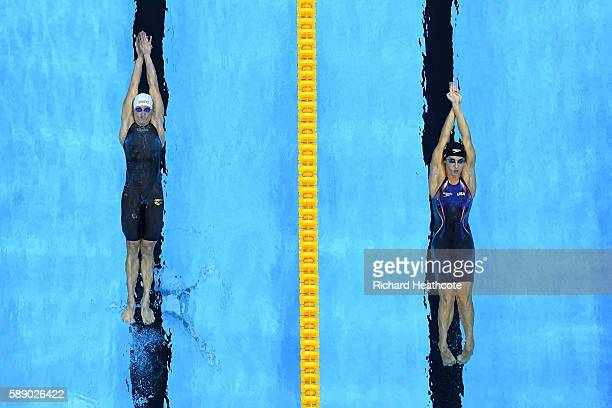 Madeline Dirado of the United States and Katinka Hosszu of Hungary compete in the Women's 200m Backstroke Final on Day 7 of the Rio 2016 Olympic...