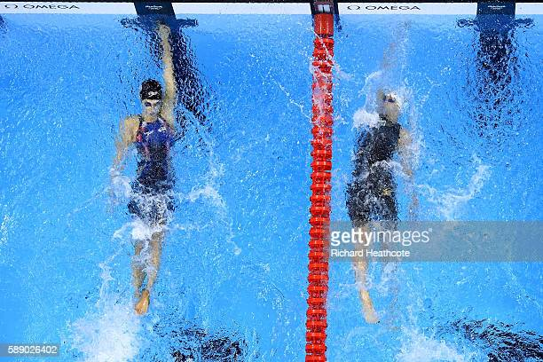 Madeline Dirado of the United States beats Katinka Hosszu of Hungary in the Women's 200m Backstroke Final on Day 7 of the Rio 2016 Olympic Games at...