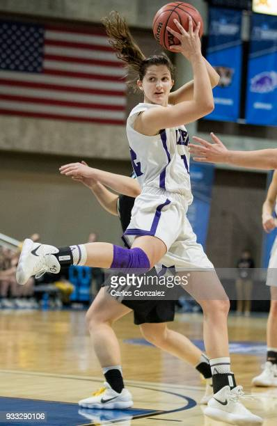 Madeline Eck of Amherst College grabbed a rebound during the Division III Women's Basketball Championship held at the Mayo Civic Center on March 17...