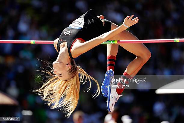 Madeline Fagan competes in Women's High Jump qualifications during the 2016 US Olympic Track Field Team Trials at Hayward Field on July 1 2016 in...