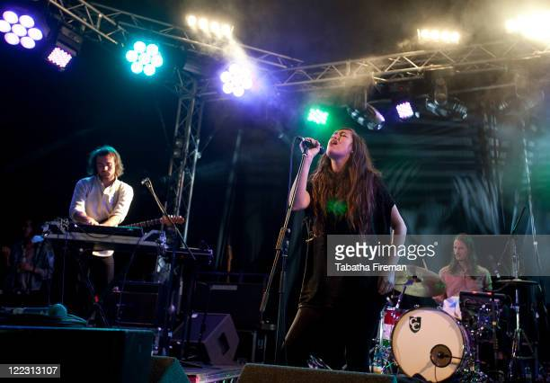 Madeline Follin of Cults performs on the Festival Republic Stage during day two of Reading Festival at Richfield Avenue on August 27, 2011 in...
