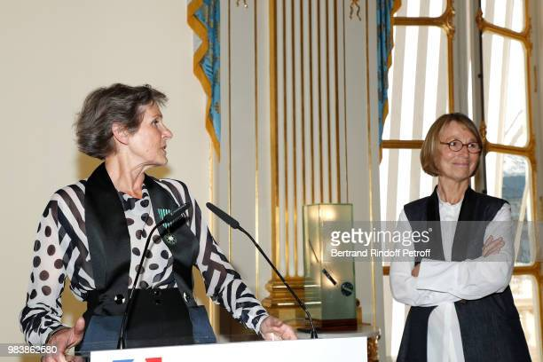Madeline Fontaine decorated 'Chevalier des Arts et des Lettres' and French Minister of Culture Francoise Nyssen attend Decorations are given at...