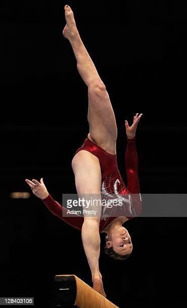 Madeline Gardiner of Canada performs on the Beam aparatus in the Women's Qualification during the day one of the Artistic Gymnastics World...