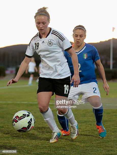 Madeline Gier of Germany and Lisa Boattin of Italy fight for the ball during the women's U19 international friendly match between Germany and Italy...