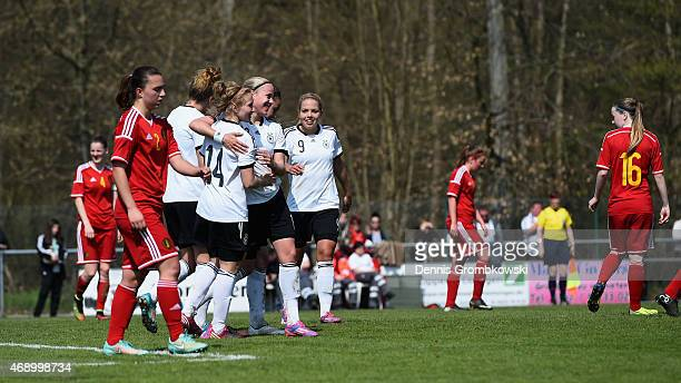 Madeline Gier of Germany celebrates as she scores the third goal during the U19 Women's Elite Round match between U19 Belgium and U19 Germany on...