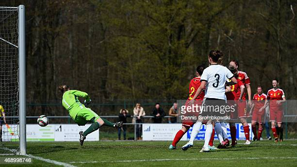 Madeline Gier of Germany scores the third goal during the U19 Women's Elite Round match between U19 Belgium and U19 Germany on April 9 2015 in Forst...