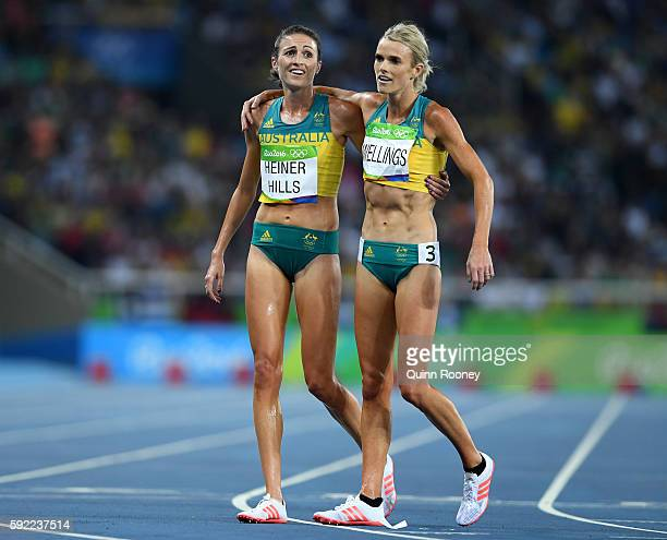 Madeline Heiner Hills and Ella Nelson of Australia react after the Women's 5000m Final and setting a new Olympic record of 142617 on Day 14 of the...