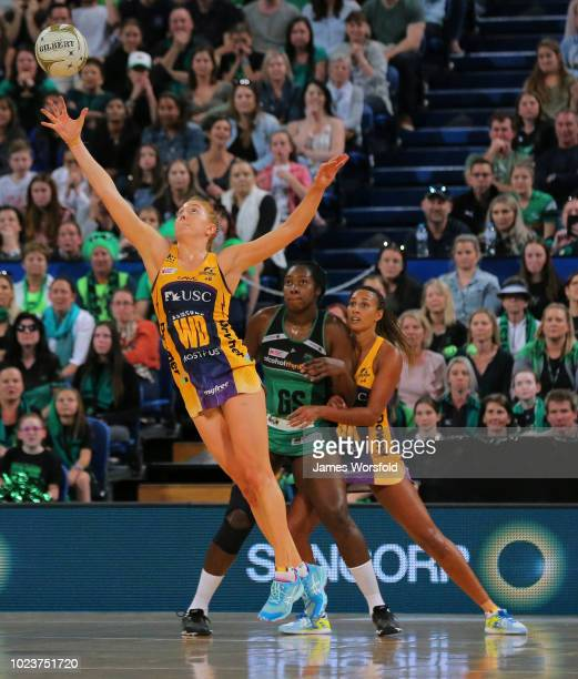 Madeline Mcauliffe of the Sunshine Coast Lightning leaps for the ball during the Super Netball Grand Final match between the the Fever and the...