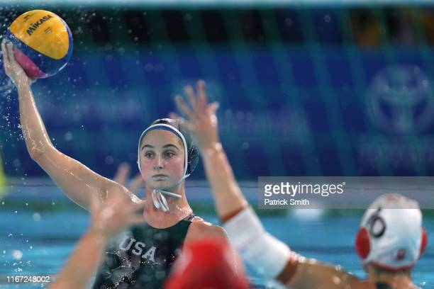 Madeline Musselman of the United States looks to pass during the Women's Waterpolo Final match between United States and Canada on Day 15 of Lima...