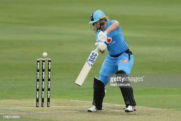 Madeline Penna of the Strikers bats during the Women's Big Bash League WBBL match between the Sydney Sixers and the Adelaide Strikers at North Sydney...