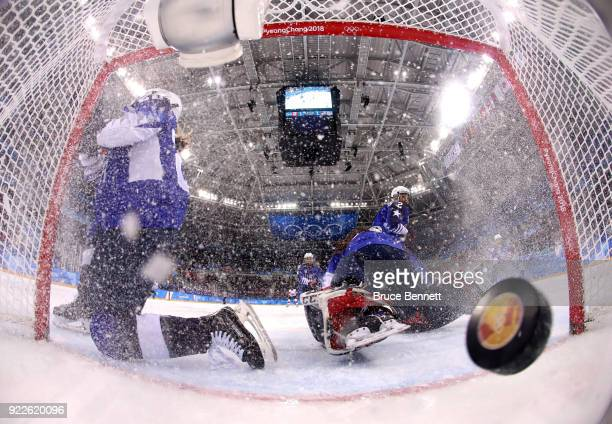 Madeline Rooney of the United States allows a goal in the second period against Canada during the Women's Gold Medal Game on day thirteen of the...