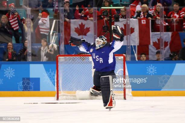Madeline Rooney of the United States celebrates after defating Canada in a shootout to win the Women's Gold Medal Game on day thirteen of the...