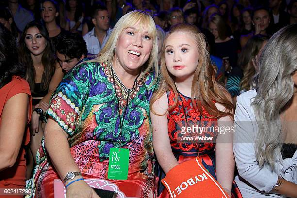 Madeline Stuart and her mother attend tje KYBOE fashion show during New York Fashion Week The Shows at The Arc Skylight at Moynihan Station on...