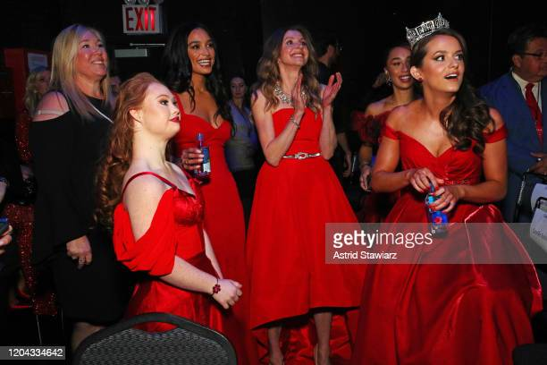 Madeline Stuart, Rachel Smith, Sarah Chalke, and Miss America Camille Schrier pose backstage at The American Heart Association's Go Red for Women Red...