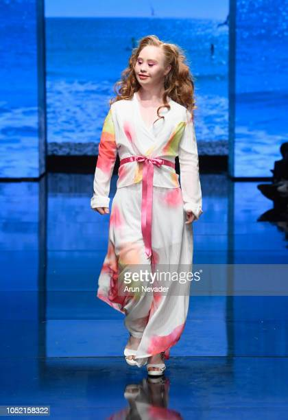 Madeline Stuart walks the runway wearing 21 Reasons Why at Los Angeles Fashion Week Powered by Art Hearts Fashion LAFW SS/19 at The Majestic Downtown...