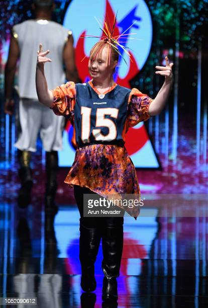 Madeline Stuart walks the runway wearing Burning Guitars at Los Angeles Fashion Week Powered by Art Hearts Fashion LAFW SS/19 at The Majestic...
