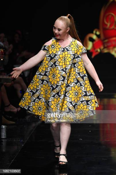 Madeline Stuart walks the runway wearing Dahil Republic of Couture at Los Angeles Fashion Week Powered by Art Hearts Fashion LAFW SS/19 at The...