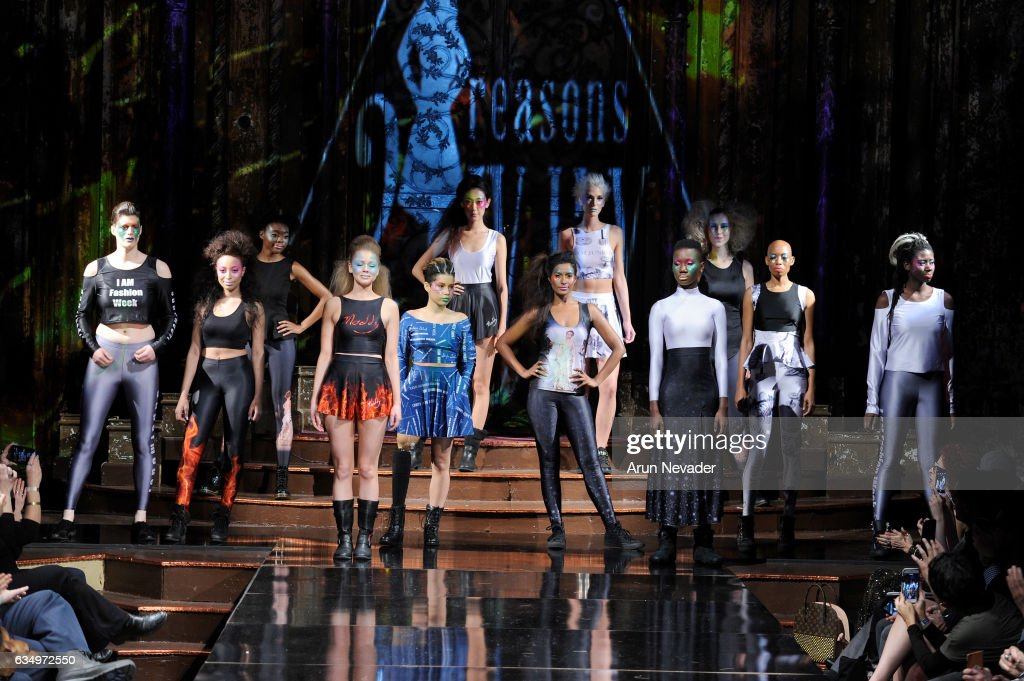 Madeline Stuart walks the runway with models during 21 Reasons Why By Madeline Stuart at New York Fashion Week Art Hearts Fashion NYFW FW/17 at The Angel Orensanz Foundation on February 12, 2017 in New York City.