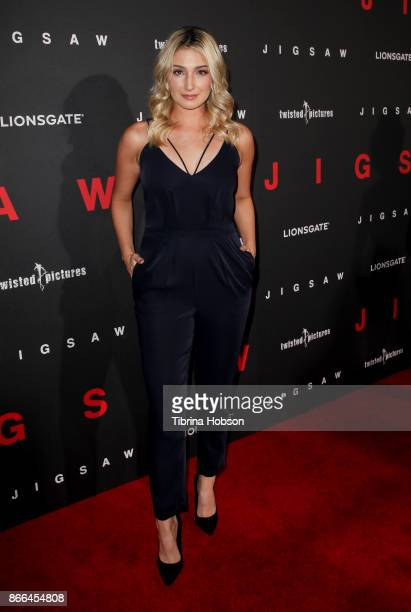 Madeline Whitby attends the premiere of Lionsgate's 'Jigsaw' at ArcLight Hollywood on October 25 2017 in Hollywood California