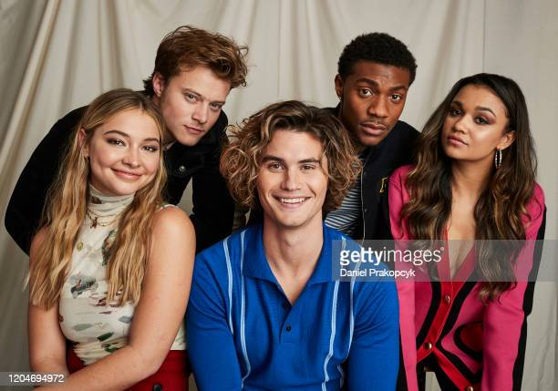 Madelyn Cline Rudy Pankow Chase Stokes Jonathan Daviss and Madison Bailey of Outer Banks pose for a portrait during the Netflix YA Press Day at The...