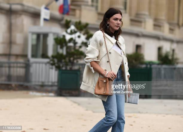 Madelyn Furlong is seen wearing Chanel outside the Chanel show during Paris Fashion Week SS20 on October 1, 2019 in Paris, France.
