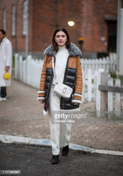 Madelynn Furlong is seen outside Baum und Pferdgarten during the Copenhagen Fashion Week Autumn/Winter 2019 Day 3 on January 31 2019 in Copenhagen...