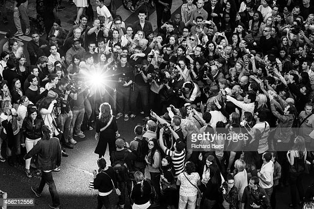 Mademoiselle Agnes arrives at the Jean Paul Gaultier show as part of the Paris Fashion Week Womenswear Spring/Summer 2015 on September 27 2014 at the...