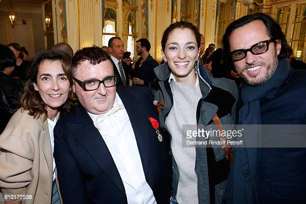 Mademoiselle Agnes Boulard Alber Elbaz Sofia Sanchez de Betak and her husband Alexandre de Betak attend Alber Elbaz receives the Insigna of 'Officier...