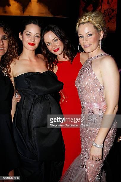 Mademoiselle Agnes Marion Cotillard Emily Blunt and Elizabeth Banks attend the '2010 amfAR's Cinema Against AIDS Gala'